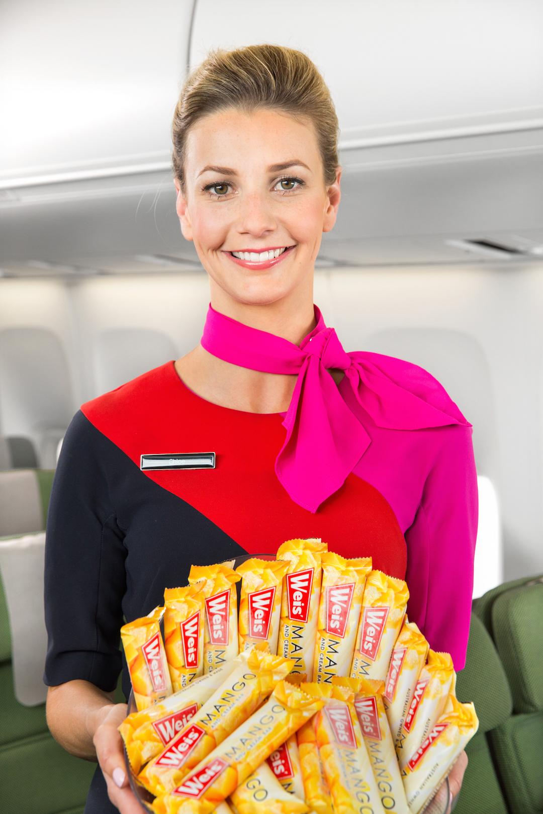 Sorvete está disponível entre as refeições na econômica da Qantas. (Divulgação)
