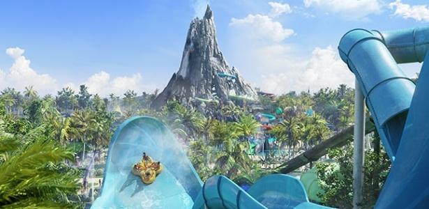 Projeção artística do Volcano Bay, novo parque aquático do Universal Orlando Resort