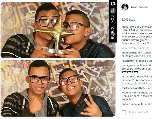 """""""Como é bom acordar campeão"""", diz Lucas, vencedor do """"SuperStar"""", da Globo"""