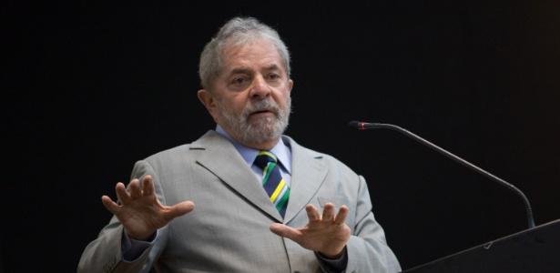 O ex-presidente Luiz Inácio Lula da Silva (PT) em palestra para empresários dos países da União Europeia
