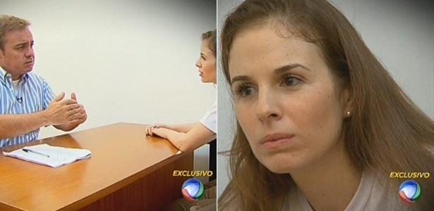 25.fev.2015 - O apresentador Gugu Liberato entrevista Suzane von Richthofen em Tremembé (SP), na cadeia em que ela cumpre pena por matar os pais