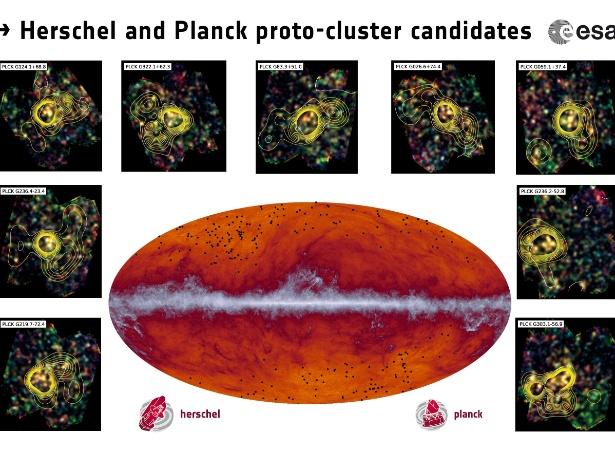 """Os satélites Planck e Herschel, foram desenhados para cartografar e analisar o cosmos desde uma órbita situada a 1,5 milhão de quilômetros da Terra. A imagem central mostra a Via Láctea: o risco no meio do desenho oval se refere à poeira cósmica de nossa galáxia. Os pontos pretos mostram a localização das protogaláxias, grupos de dezenas de galáxias que ainda estão se formando e que são, portanto, relativamente menores e """"mais compactas"""" que a nossa. As imagens ao redor mostram a densidade de cada uma"""