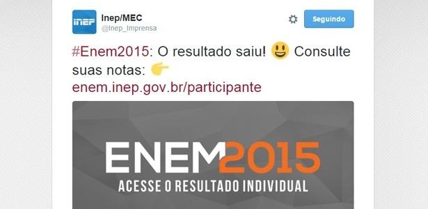 Inep anunciou no Twitter a divulgação dos resultados do Enem 2015