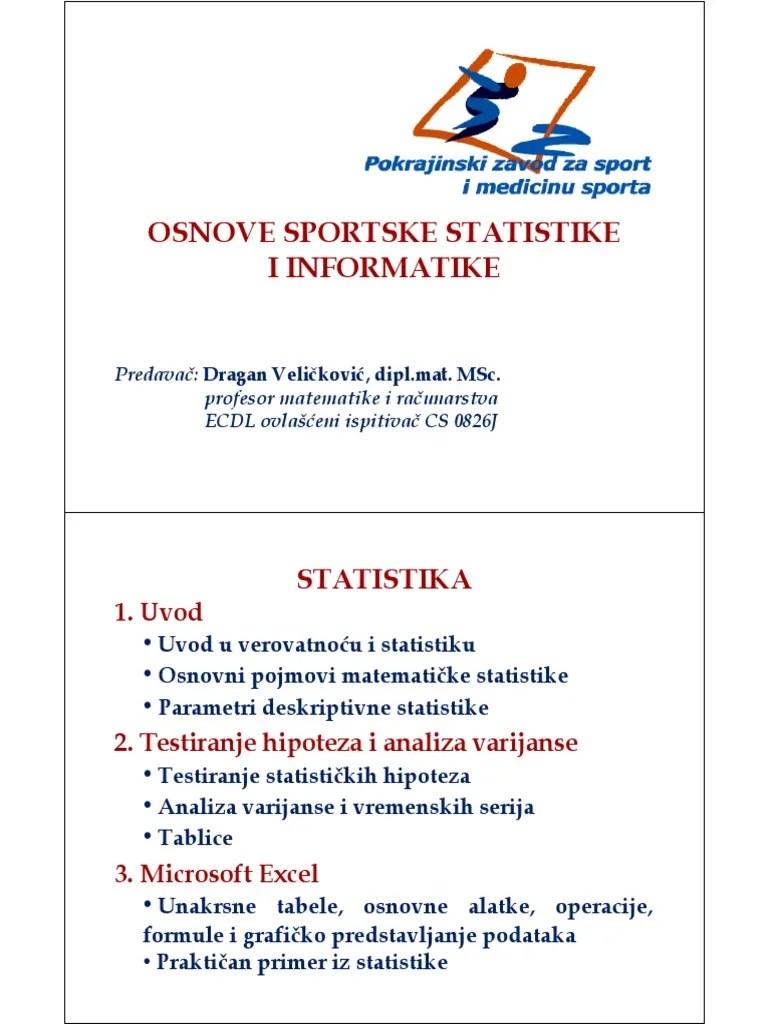 Statistike dhe probabilitet lenda matematik 2. Statistika 2 Deo