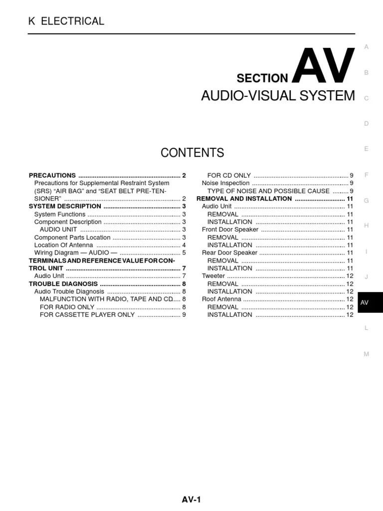 Nissan Navara Workshop Manual | Airbag | Loudspeaker