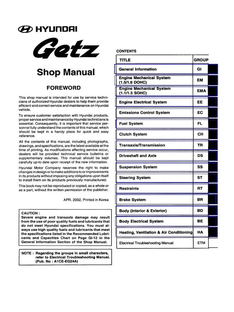 Hyundai Getz Cover