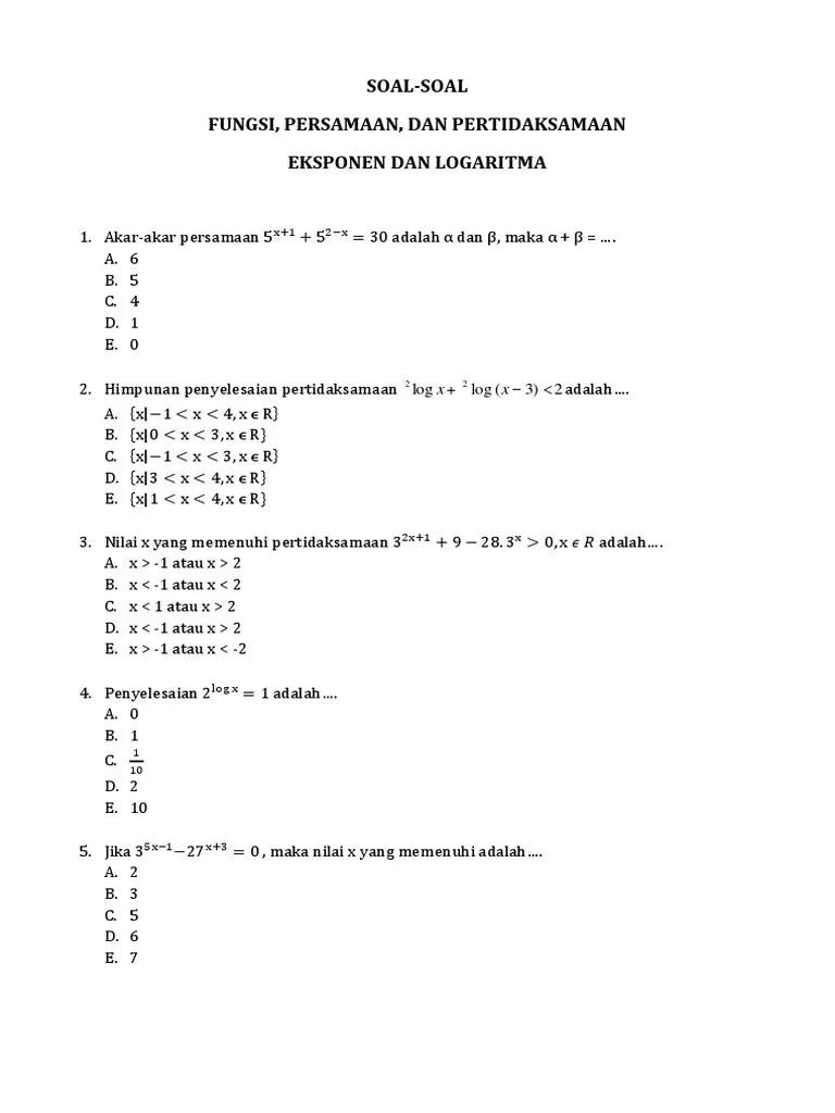 Dari grafik fungsi logaritma di atas tampak bahwa : Contoh Soal Cerita Eksponen Kelas 10 Dan Pembahasannya