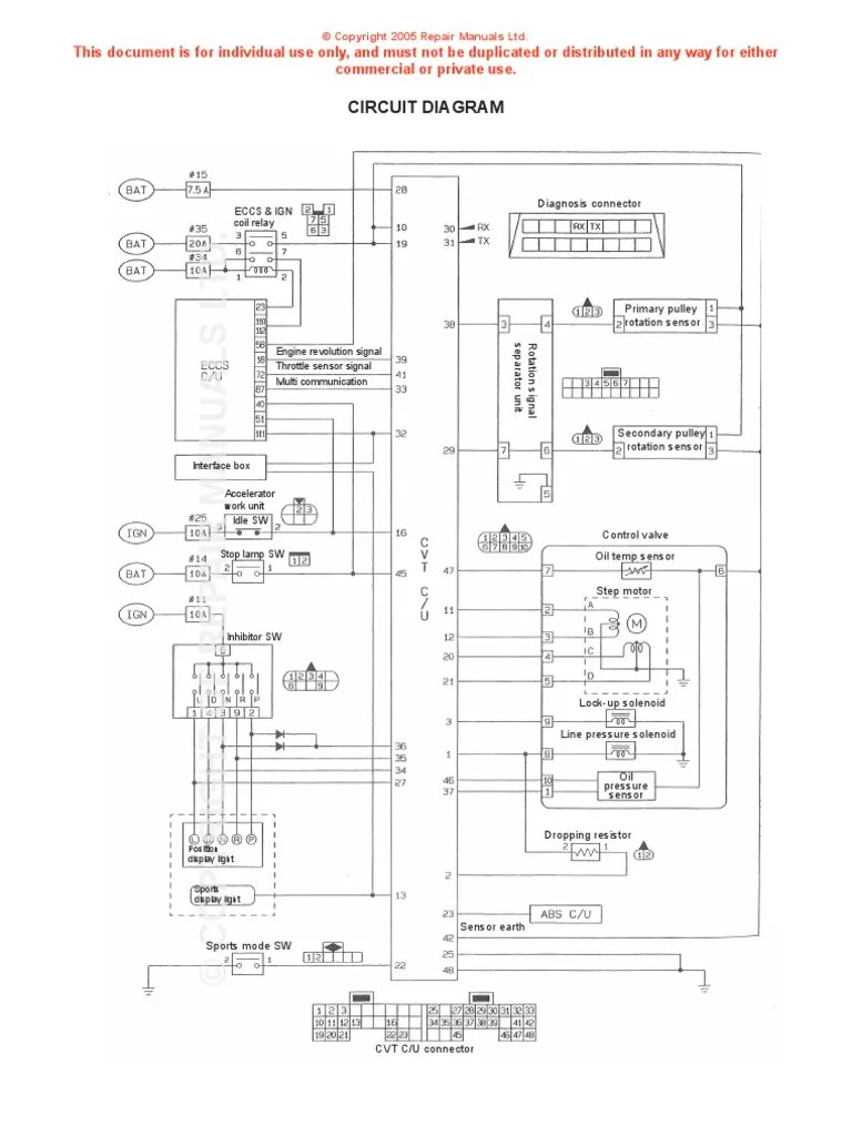 Nissan CVT Wiring Diagram | Throttle | Electrical Components