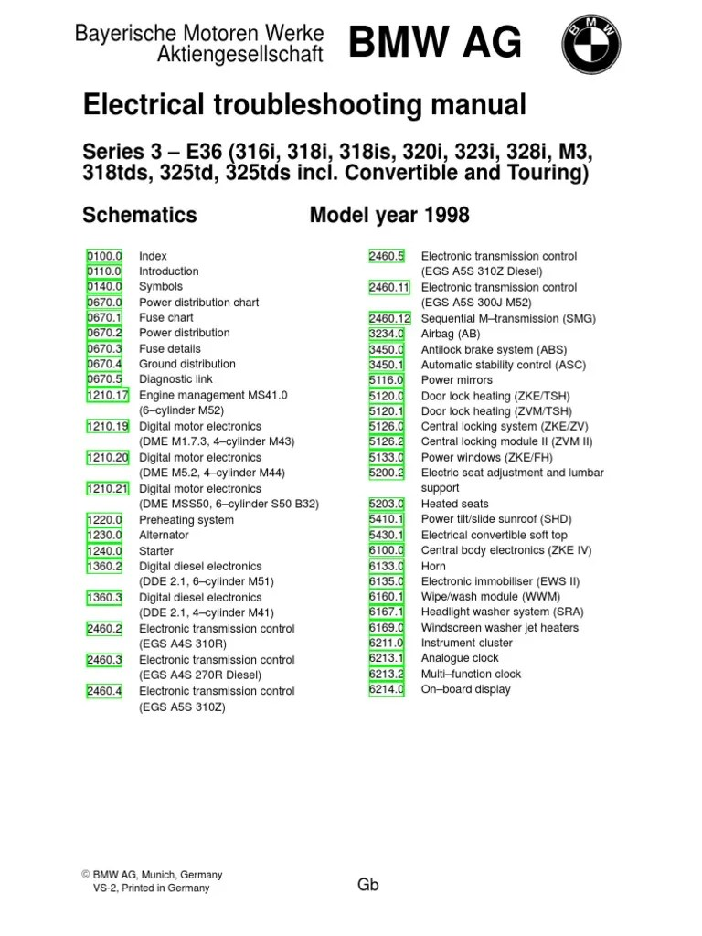 1998 BMW E36 Electrical Wiring Diagram | Vehicle Parts