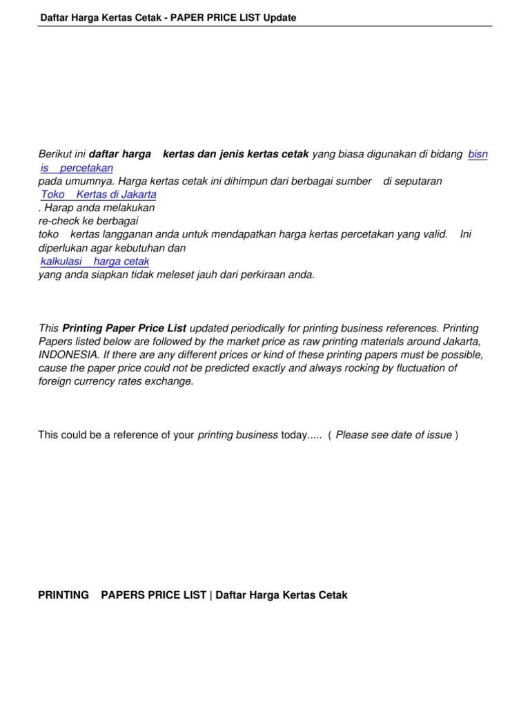 Harga harga no jenis barang vol no harga asli dinas sekolah 1 absensi siswa 102 2 administrasi guru 103. Daftar Harga Kertas Cetak Paper Price List Update