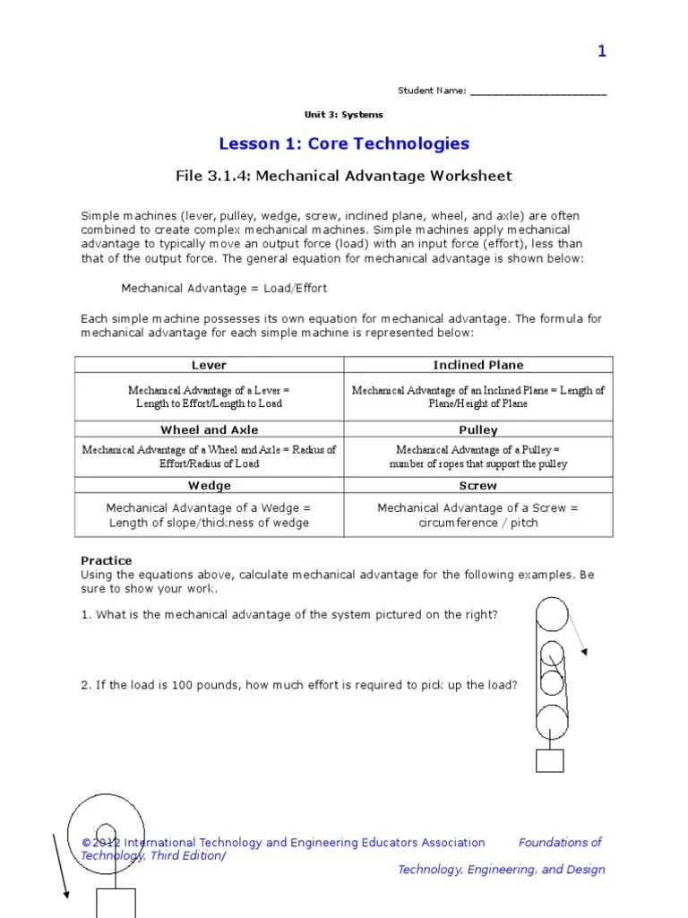 worksheet Calculating Mechanical Advantage Worksheet With Answers mechanical advantage worksheet free worksheets library download 3 1 4 b mech nic l dv nt ge w ksheet m ch es physics