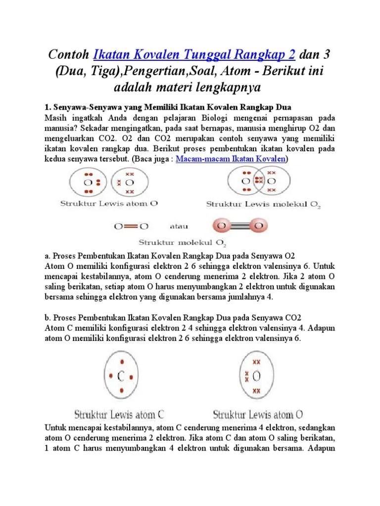 Pengertian Ikatan Kovalen : pengertian, ikatan, kovalen, Contoh, Ikatan, Kovalen, Rangkap, Materi, Kimia, Terdapat, Molekul