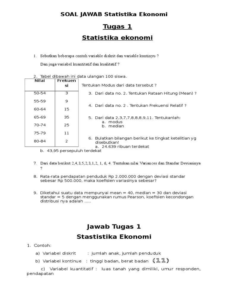 Contoh Soal Statistika Kuliah Pdf