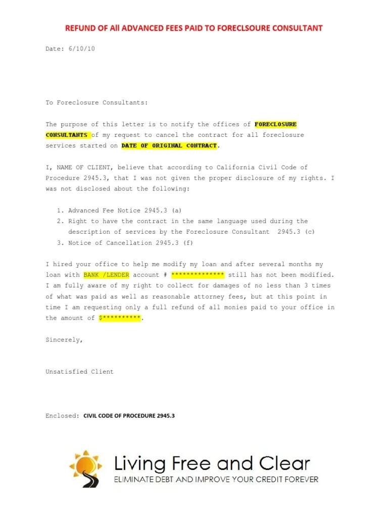 Sample Letter Refund Request Foreclosure Consultants