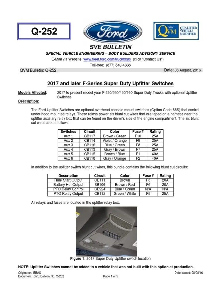 Ford FSeries 2017 Upfitter Switch System