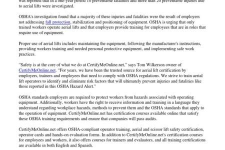 Free Resume 2018 » osha aerial lift training requirements | Free Resume