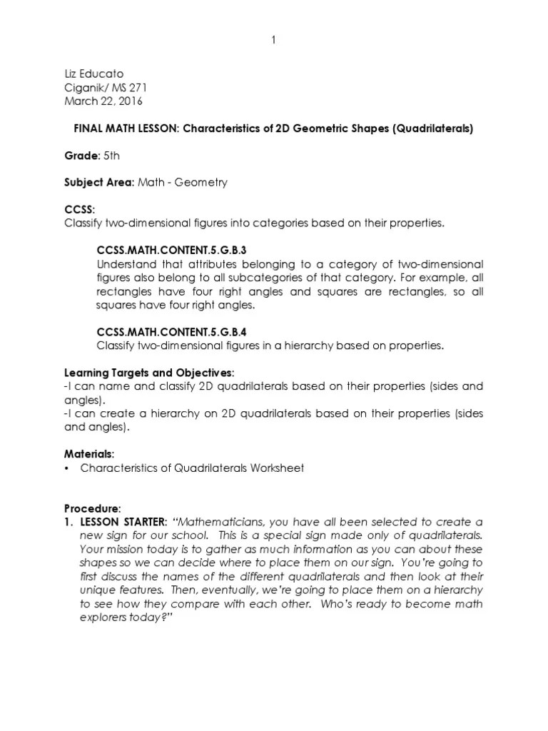 Workbooks worksheets on quadrilaterals and their properties : Quadrilateral Properties Worksheet Free Worksheets Library ...