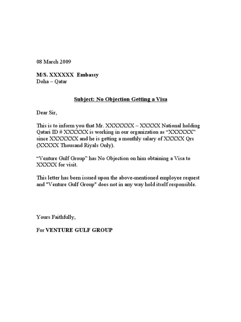 No objection letter format for employer kcaxx no objection no objection letter format for employer b9q47 yelopaper Image collections