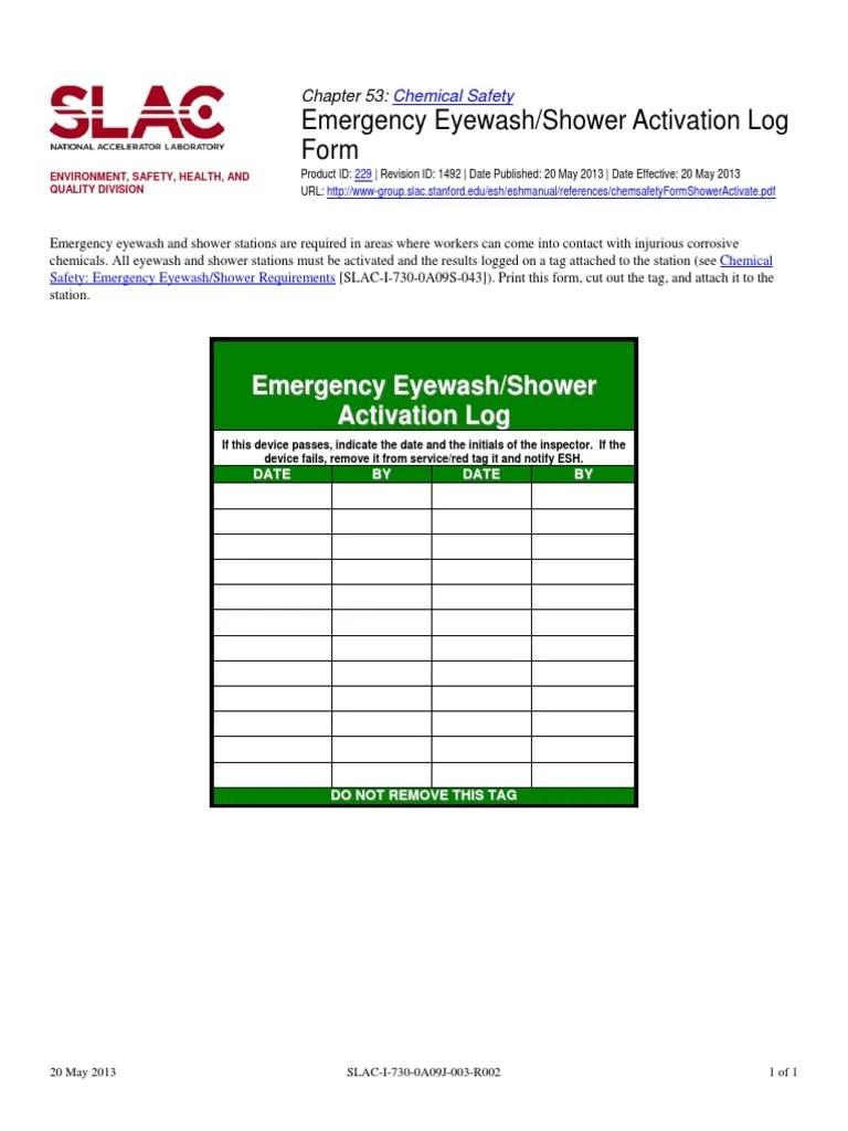 Emergency eye wash station safety sign mfsd544 prevents injury from eye contamination. Chem Safety Form Shower Activate Pdf