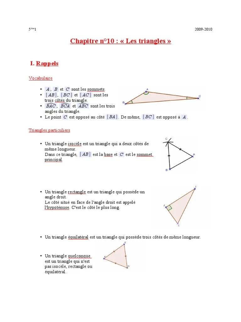 triangle isocele triangle geometrie