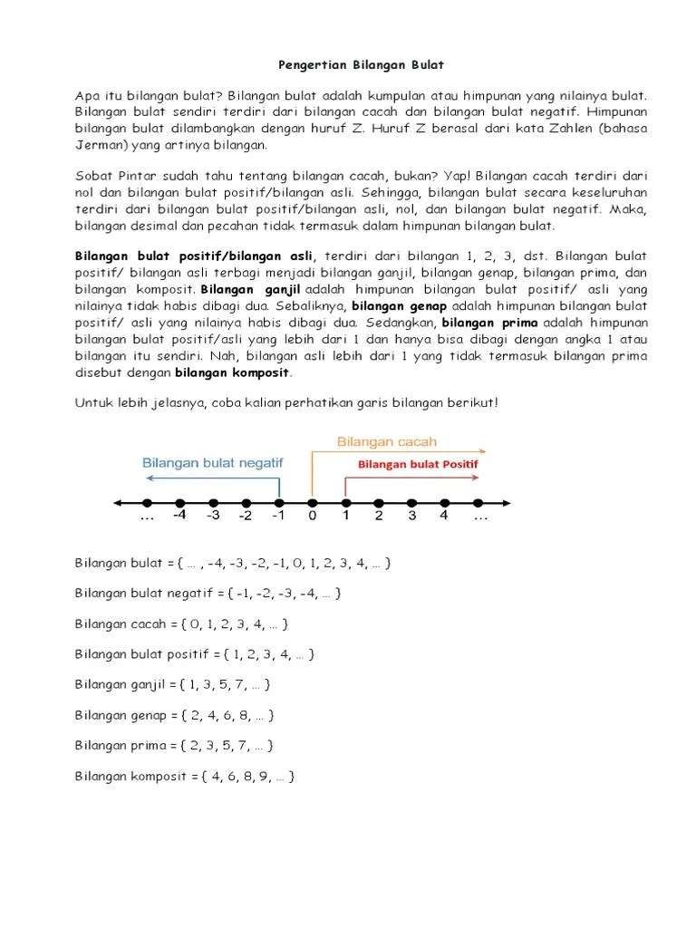 Odul ini memuat pembahasan teori himpunan dan himpunan bilangan bulat. Pengertian Bilangan Bulat