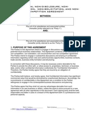 Resume templates power of attorney form Mutual Non Disclosure Non Circumvention Pdf Non Disclosure Agreement Trade Secret
