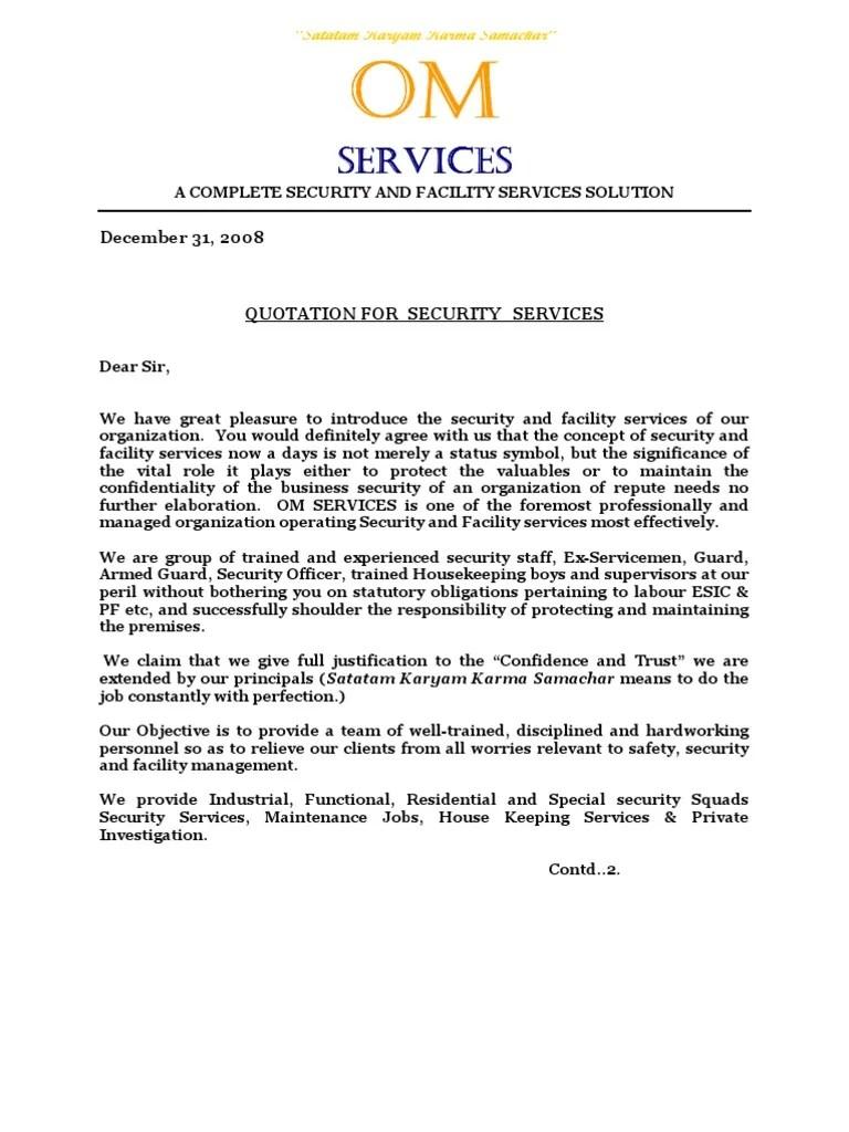 Om Services Quotationdoc Security Guard Labour