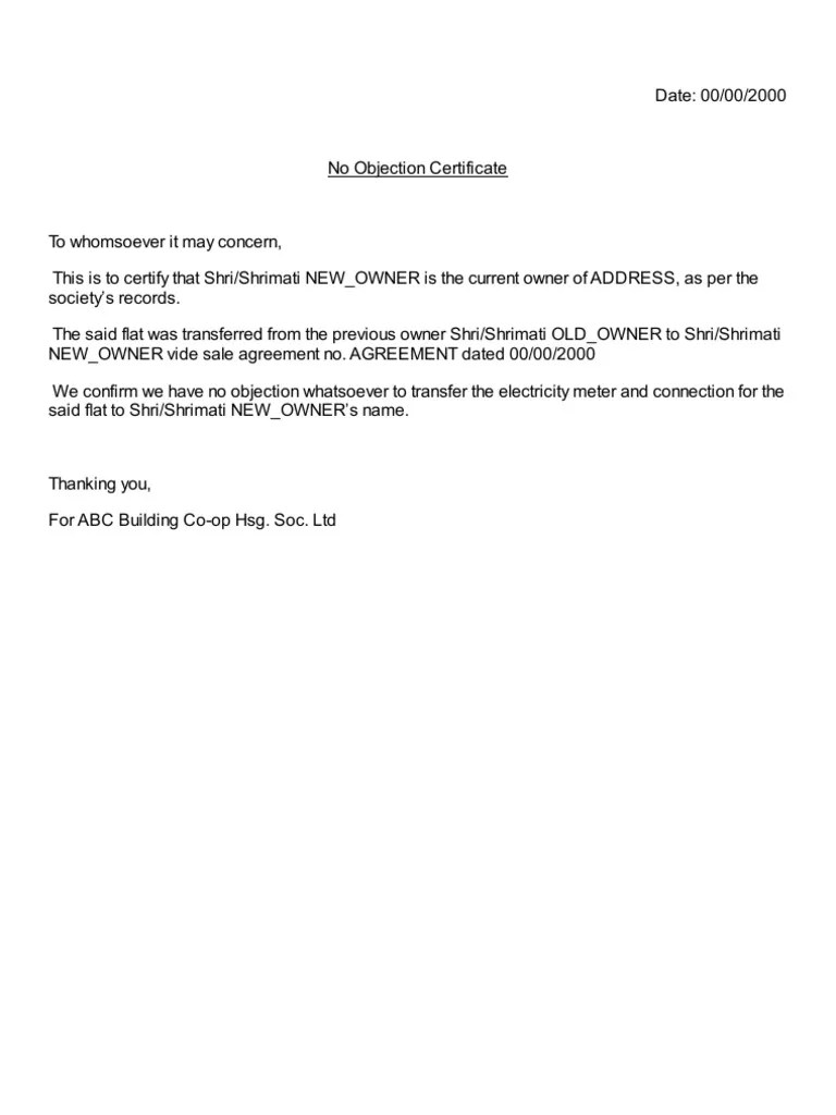 No Objection Letter From Company office worker sample resume – No Objection Letter from Company