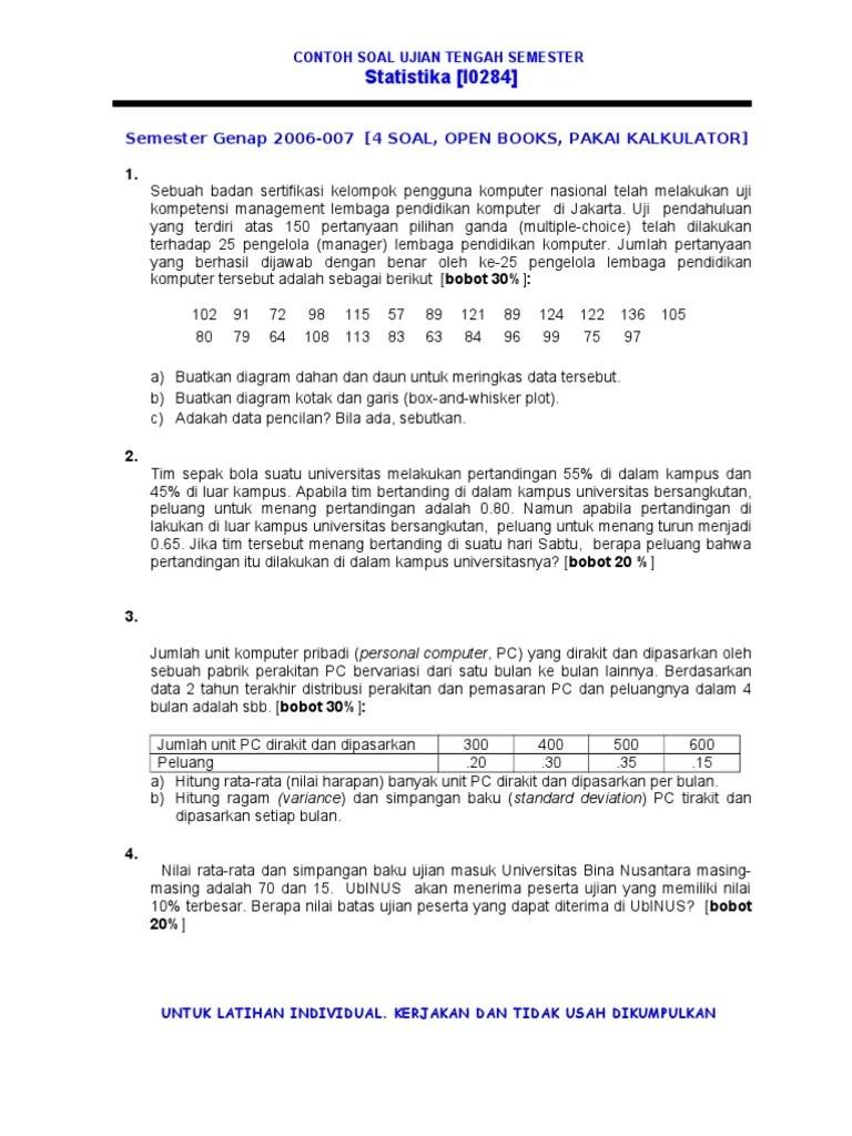 The contoh soal essay ekonomi kelas 11 semester 2 beserta jawabannya. Contoh Soal Statistika Semester 2 Kuliah Blog Guru Kelas