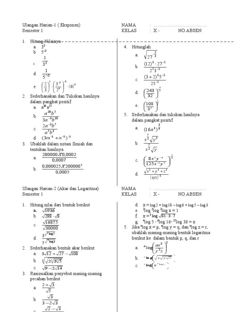 Pelajaran soal rumus persamaan eksponen logaritma wardaya college. Contoh Soal Eksponen Kelas 10 Dan Pembahasannya Kurikulum 2013