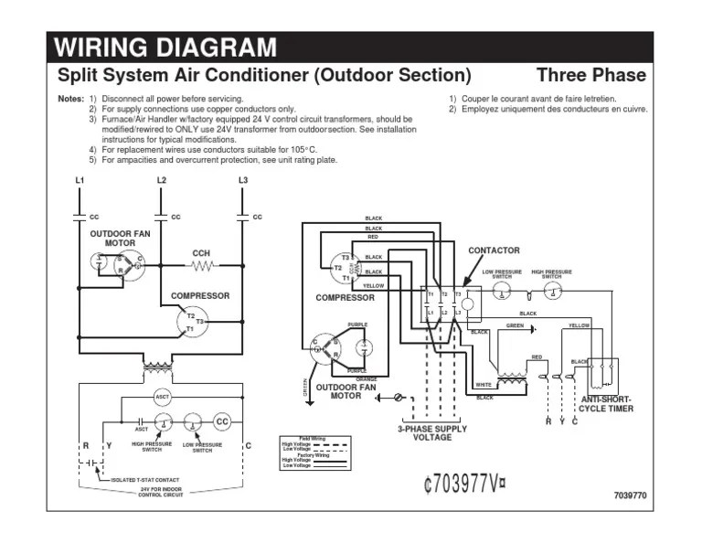 Wiring DiagramSplit System Air Conditioner