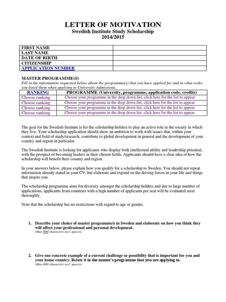 Motivation Letter Si Study Scholarships Motivation