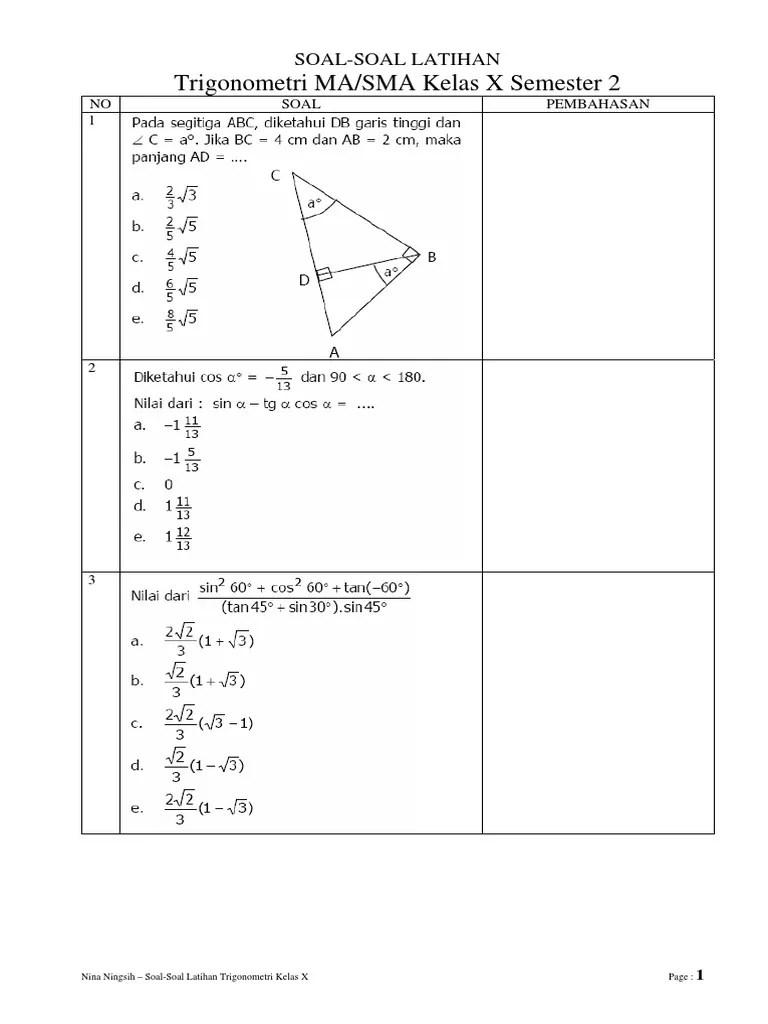 Contoh soal dan jawaban trigonometri kelas 10 smk. Contoh Soal Trigonometri Kelas 10
