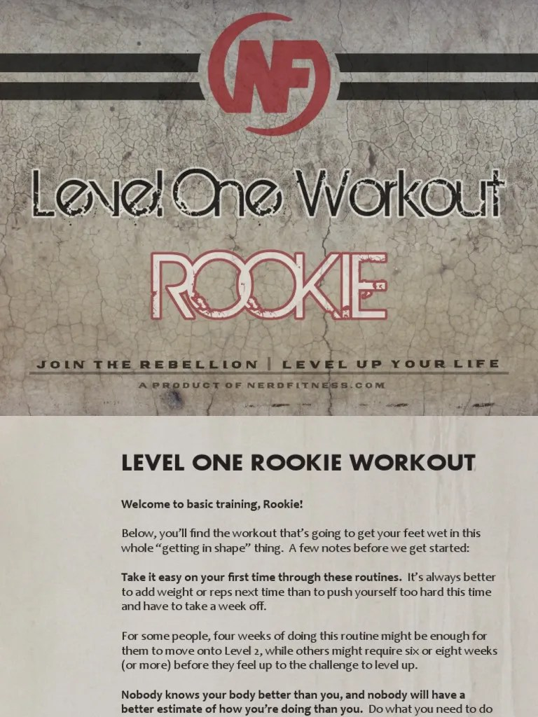 Download level one Rookie workout