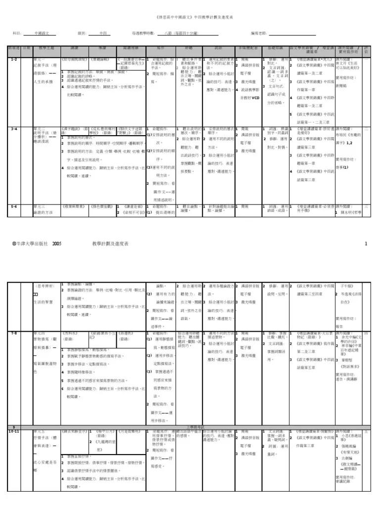 《啟思高中中國語文》中四教學計劃及