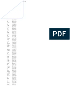 Bnc British National Corpus Frequency Word List