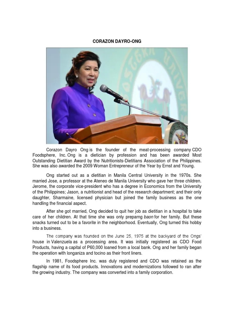 Corazon Dayro Ong Dietitian Philippines