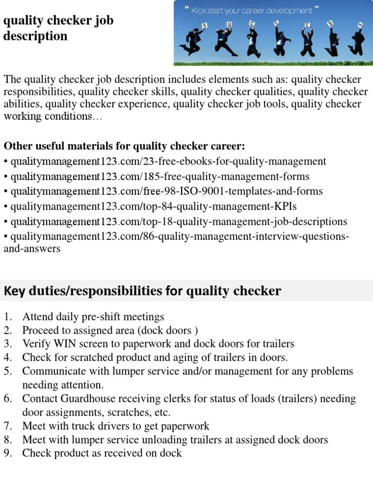 Quality Checker Job Description | Employment | Recruitment