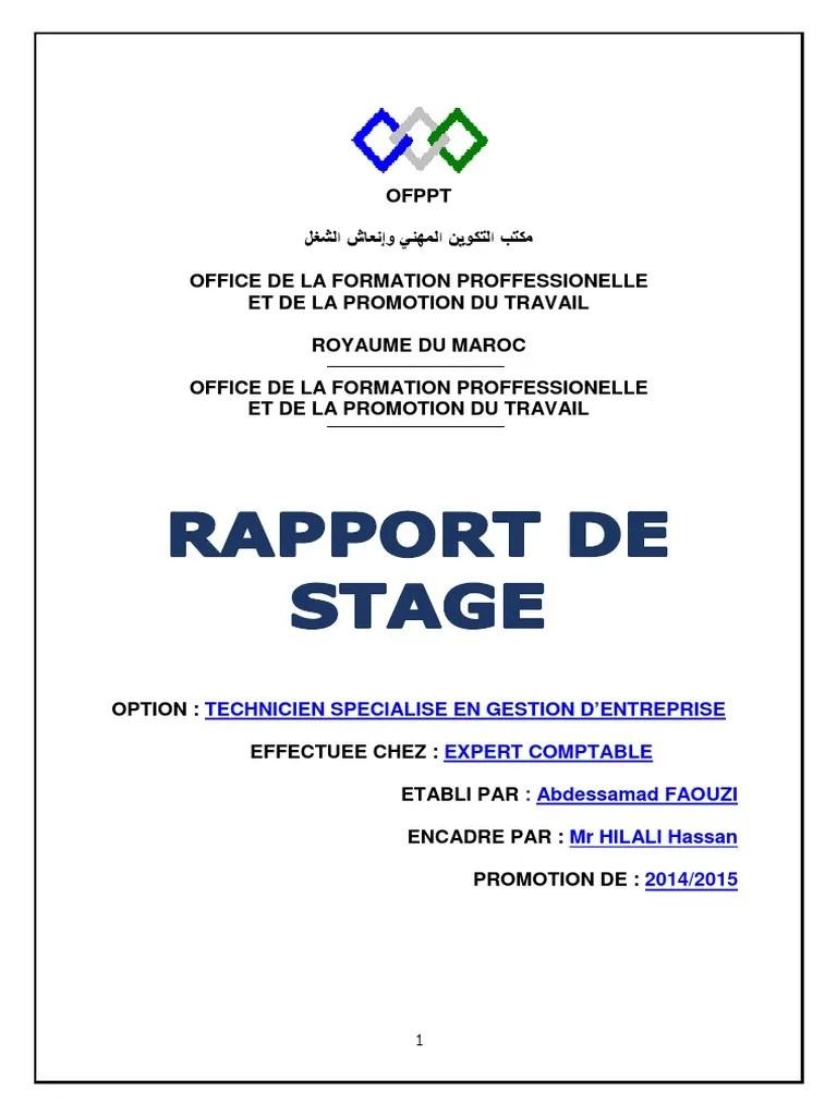 Rapport De Stage Chez Un Fiduciaire OFPPT