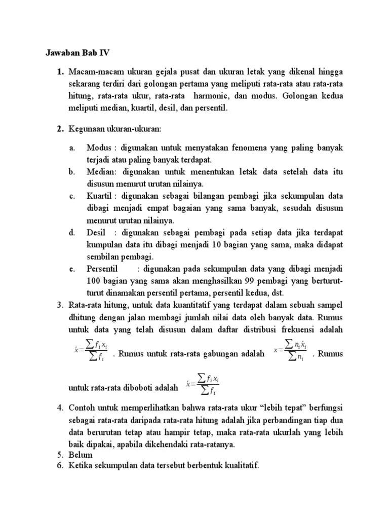Jawaban dan pembahasan soal statistika sudjana bab 4. Kunci Jawaban Bab 4 Statistika Pdf
