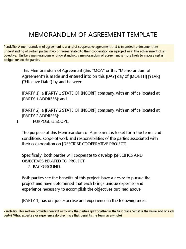 A budget for the project is attachment a to this agreement and is incorporated herein by reference. Memorandum Of Agreement Template Pdf Indemnity Insurance