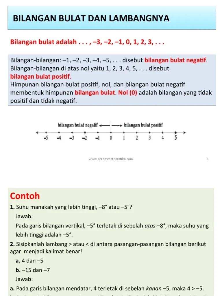 """Bilangan rasional biasanya diberi lambang q (yang berasal dari bahasa inggris """"quotient""""). Bilangan Bulat Dan Pangkat I Pdf"""