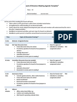When a board of directors meeting agenda template is used. Board Meeting Agenda Template Pdf Agenda Meeting Governance