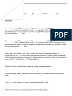 Llp is an alternative corporate business form that gives the benefits of limited liability of a company and the flexibility of a partnership.in an llp, several partners are able to work together. Llp Agreement Sample 1 Pdf Limited Liability Partnership Law