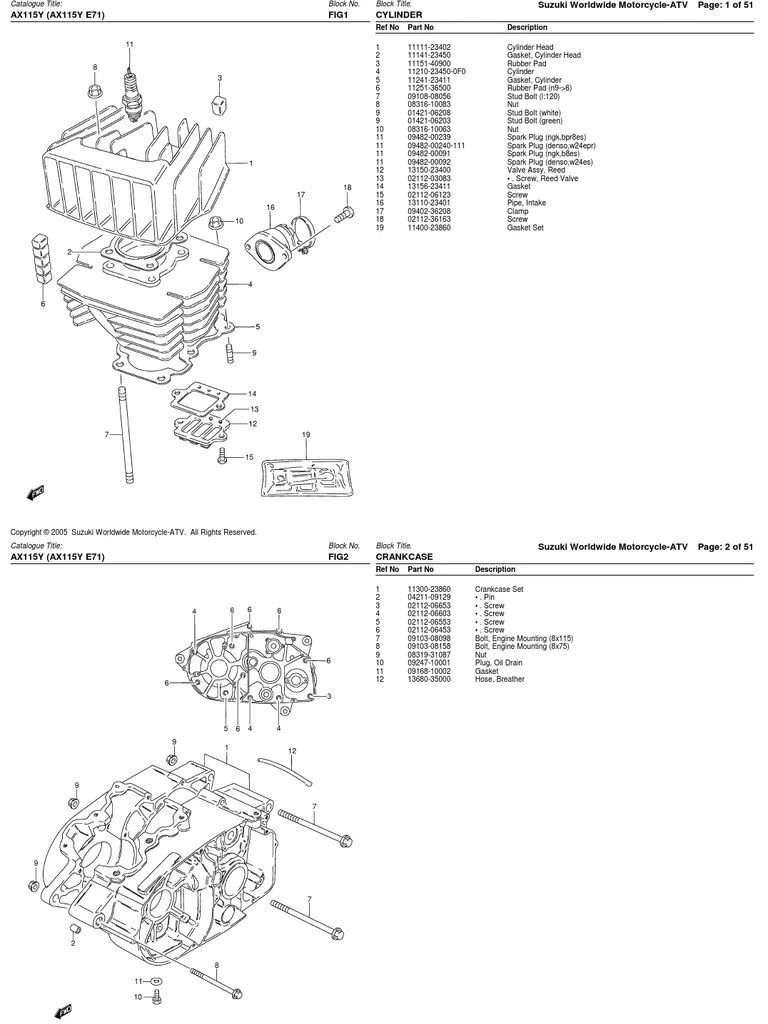 Despiece Suzuki AX100115