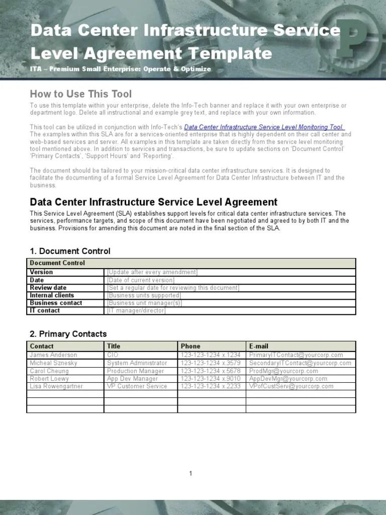 Data Center Infrastructure SLA Template Service Level Agreement Data Center