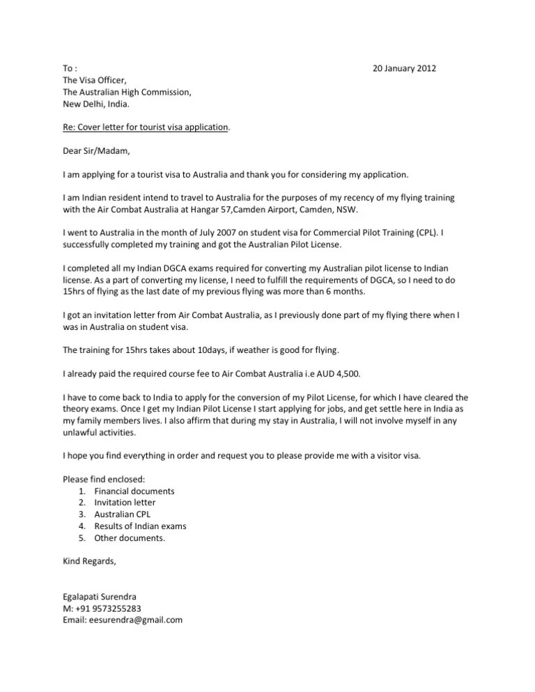 cover letter for tourist visa