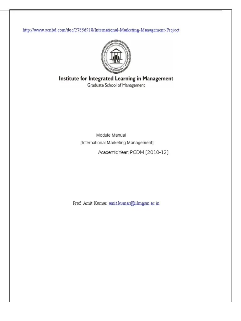 Combination of digital media and sports marketing revealed: Course Outline International Marketing Management (IMM ...
