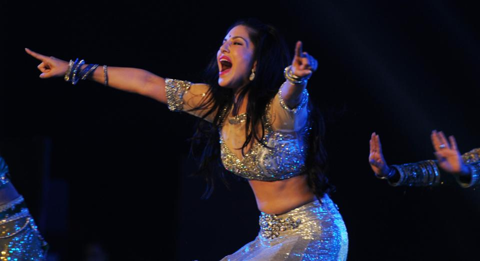 Sunny Leone performing during Mr and Miss attitude 2017 competition at Morahbadi Ground in Ranchi