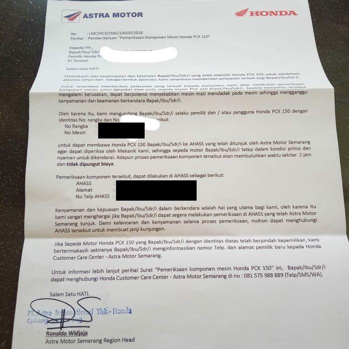Surat panggilan dari AHM untuk pengguna PCX di Solo, Jawa Tengah